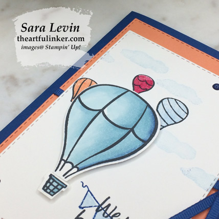 Stamping Sunday Above the Clouds card, hot air balloon detail. Shop for Stampin Up products at theartfulinker.com