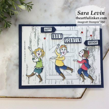 Learn how to make this Young at Heart Boot Scootin Birthday card with a video and FREE tutorial download. Shop for Stampin Up products at theartfulinker.com