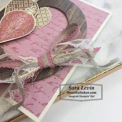 Christmas Gleaming with Pressed Petals card, lavish bow detail. Shop for Stampin Up products at theartfulinker.com