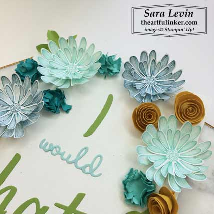 Daisy Lane Hand Lettered Prose plaque for Home Decor SU Style Blog Hop August 2019, 3D paper flower detail. Shop for Stampin Up products at theartfulinker.com