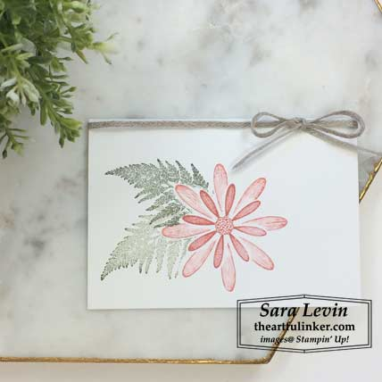 Daisy Lane simple stamping card with braided linen trim. Shop for stampin up products at theartfulinker.com Stamping Sunday Blog Hop All Tied Up