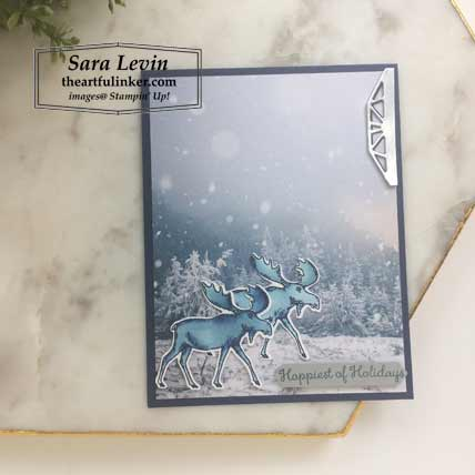 Feels Like Frost card with Merry Moose for Stamping Sunday Blog Hop Holiday Catalog Favorites 2019. Shop for Stampin Up products at theartfulinker.com