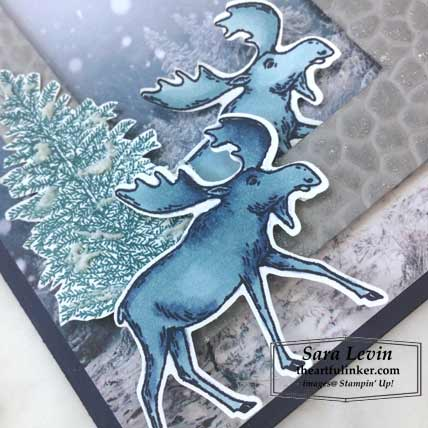 Feels Like Frost card with Merry Moose and Hammered Metal 3D embossing, moose detail, for Stamping Sunday Blog Hop Holiday Catalog Favorites 2019. Shop for Stampin Up products at theartfulinker.com