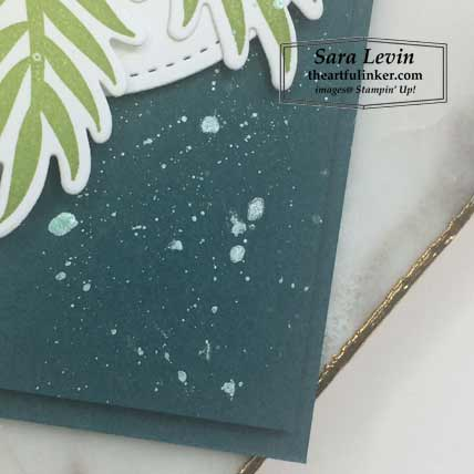 Feels Like Frost with Tropical Chic card, tinted shimmer paint splatter detail. Shop for Stampin Up products at theartfulinker.com