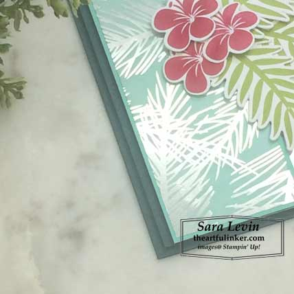 Feels Like Frost with Tropical Chic card, sponged designer paper detail. Shop for Stampin Up products at theartfulinker.com