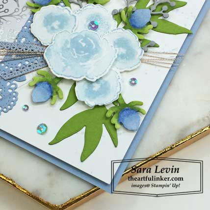 First Frost with Feels Like Frost card with FREE tutorial, flowers and scalloped linen ribbon detail. Shop for Stampin Up products at theartfulinker.com