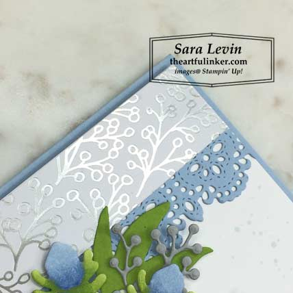 First Frost with Feels Like Frost card with FREE tutorial, designer paper and stitched lace detail. Shop for Stampin Up products at theartfulinker.com