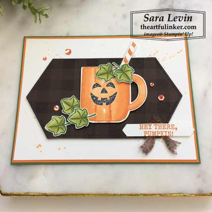 Harvest Hellos Cup of Christmas card with layers, angled view. Shop for Stampin Up products at theartfulinker.com