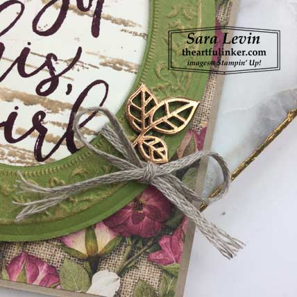 Here's to Strong Women with Pressed Petals card, embellishment detail. Shop for Stampin Up products at theartfulinker.com