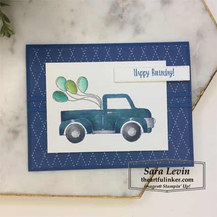 Ride with Me Fast Friday layered card with tutorial. Shop for Stampin Up products at theartfulinker.com