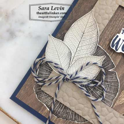 Rooted in Nature his and hers layout, his card leaf and baker's twine detail. Shop for Stampin Up products at theartfulinker.com