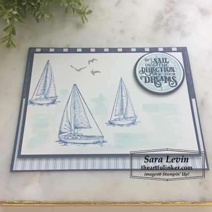 Sailing Home card with layers FREE tutorial, angled view. Shop for Stampin Up products at theartfulinker.com