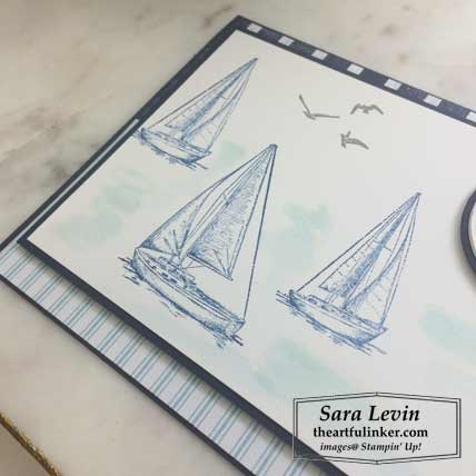 Sailing Home card with layers, sailboat detail, FREE tutorial. Shop for Stampin Up products at theartfulinker.com