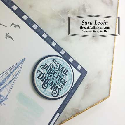 Sailing Home card with layers, sentiment detail, FREE tutorial. Shop for Stampin Up products at theartfulinker.com