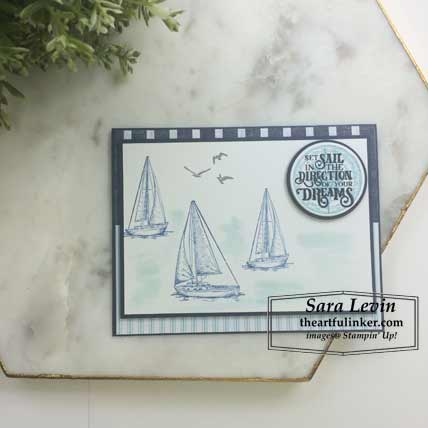 Sailing Home card with layers FREE tutorial. Shop for Stampin Up products at theartfulinker.com
