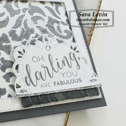 Stitched All Around in Basic Gray card, sentiment detail. Shop for Stampin Up products at theartfulinker.com