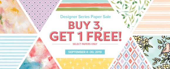 Buy 3 Get 1 select Designer Papers through September 30, 2019. Shop for Stampin Up products at theartfulinker.com
