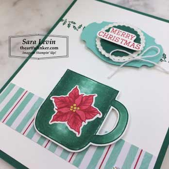 Cup of Christmas for Fast Friday stepped up Christmas card, cup detail. Shop for Stampin Up products at theartfulinker.com