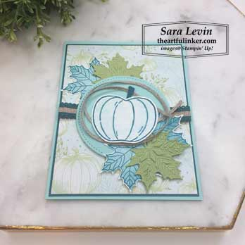 Harvest Hellos with Colorful Seasons card, angled view. Shop for Stampin Up products at theartfulinker.com