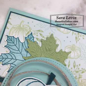 Harvest Hellos with Colorful Seasons card, leaf detail. Shop for Stampin Up products at theartfulinker.com