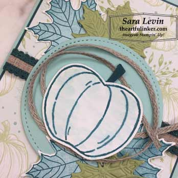 Harvest Hellos with Colorful Seasons card, pumpkin detail. Shop for Stampin Up products at theartfulinker.com