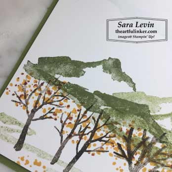 Snow Front Fall Orchard, tree detail. Shop for Stampin Up products at theartfulinker.com