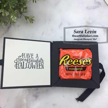 Spooktacular Bash Reese's Cup Holder, open, for 9 Weeks of Halloween Week 6. Shop for Stampin Up products at theartfulinker.com