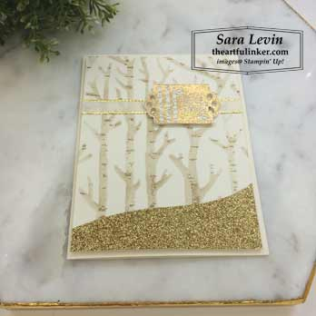 Monochromatic Christmas card, angled view, made with Tags Tags Tag for Stamping Sunday Blog Hop Tags Tags Tags. Shop for Stampin Up products at theartfulinker.com