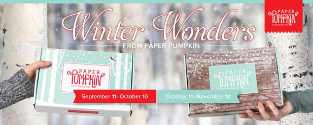 Winter Wonders Paper Pumpkin, Christmas kits for October and November. Shop for Stampin Up at theartfulinker.com