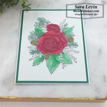 Christmas Rose card, colored with Snowfall Accents Puff Paint angled view, Stamping Sunday Blog Hop Snowfall Accents Puff Paint. Shop for stampin up products at theartfuliner.com