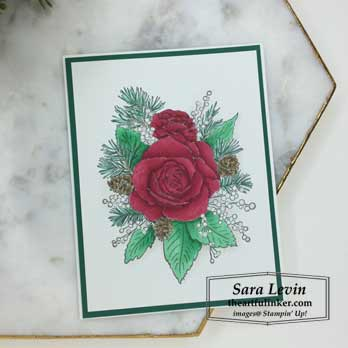 Christmas Rose card, colored with Snowfall Accents Puff Paint, Stamping Sunday Blog Hop Snowfall Accents Puff Paint. Shop for stampin up products at theartfuliner.com