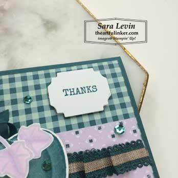 Harvest Hellos Thanks card, sentiment detail. Shop for Stampin Up products at theartfulinker.com