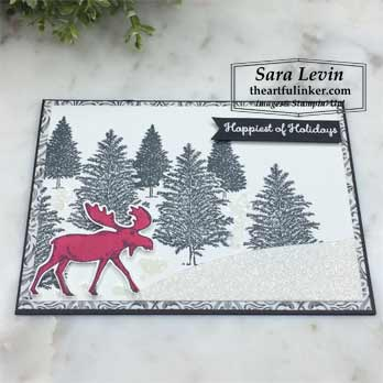Merry Moose for Creation Station Blog Hop Black and White, angled view. Shop for Stampin Up products at theartfulinker.com