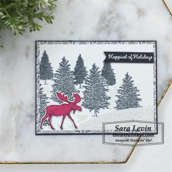 Merry Moose for Creation Station Blog Hop Black and White. Shop for Stampin Up products at theartfulinker.com