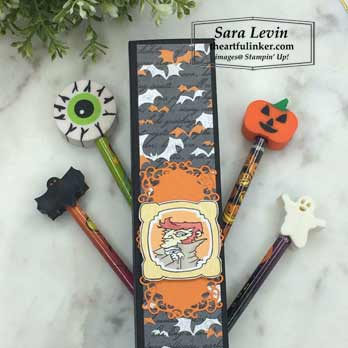 Monster Bash Halloween Pencil Box with pencils for 9 Weeks of Halloween Week 8 project. Shop for Stampin Up products at theartfulinker.com