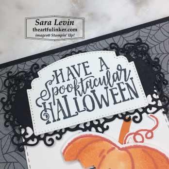 Spooktacular Bash Halloween Card - sentiment detail - for OSAT Blog Hop Spooktacular. Shop for Stampin Up products at theartfulinker.com
