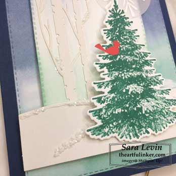 Winter Woods alternative card, snow detail, for A Paper Pumpkin Thing Blog Hop Winter Woods. Shop for Stampin Up products at theartfulinker.com