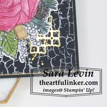 Learn how to make this Christmas Rose on Black card, detail. Shop for Stampin Up products at theartfulinker.com