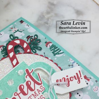 Cup of Christmas avid hot cocoa holder, layering detail, for Stamping Sunday Blog Hop goodbye holiday favorite. Shop for Stampin Up with Sara Levin at theartfulinker.com