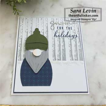 Gnome for the Holidays punch art card angled view. Shop for Stampin Up products with Sara Levin theartfulinker.com