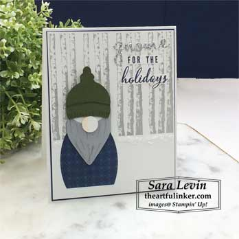 Gnome for the Holidays punch art card. Shop for Stampin Up products with Sara Levin theartfulinker.com