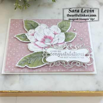 Good Morning Magnolia wedding card, angled view, for Creation Station Blog Hop Put a Ring On It. Shop for stampin up at theartfulinker.com
