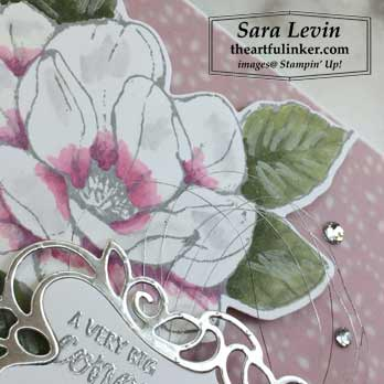 Good Morning Magnolia wedding card, flower detail, for Creation Station Blog Hop Put a Ring On It. Shop for stampin up at theartfulinker.com