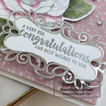 Good Morning Magnolia wedding card, sentiment detail, for Creation Station Blog Hop Put a Ring On It. Shop for stampin up at theartfulinker.com