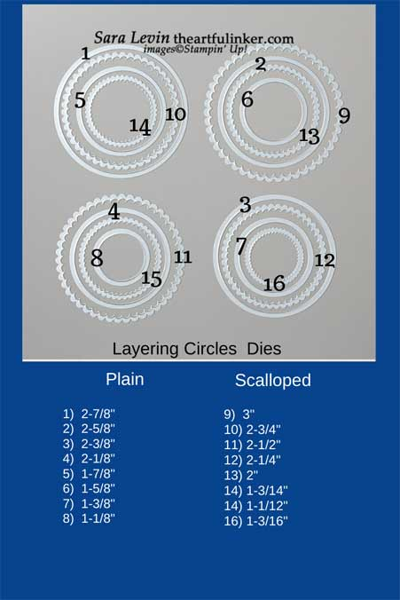 Stampin' Up! Layering Circles size chart. Shop for Stampin' Up! with Sara Levin at theartfulinker.com