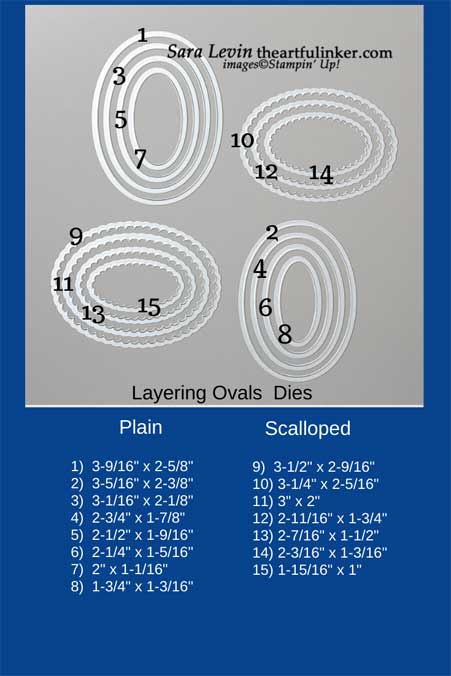 Stampin' Up! Layering Ovals size chart. Shop for Stampin' Up! with Sara Levin at theartfulinker.com