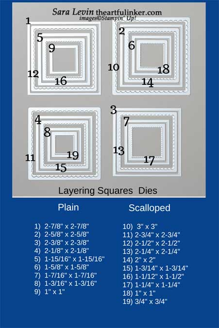 Stampin' Up! Layering Squares size chart. Shop for Stampin' Up! with Sara Levin at theartfulinker.com