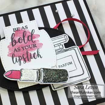 Dressed to Impress black and white with a pop of color, layer detail, for Dressed to Impress No Layer Plus. Shop for Stampin Up with Sara Levin at theartfulinker.com