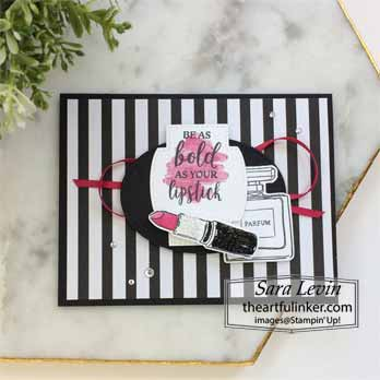 Dressed to Impress black and white with a pop of color for Dressed to Impress No Layer Plus. Shop for Stampin Up with Sara Levin at theartfulinker.com
