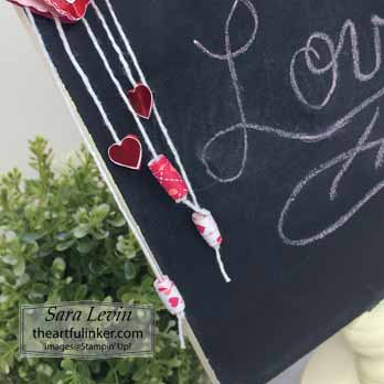 From My Heart Valentine Ornament for menu board, bead detail, for Home Decor SU Style Blog Hop January 2020. Shop for Stampin Up with Sara Levin at theartfulinker.com